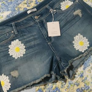 Lauren Conrad Daisy embossed cut off denim shorts